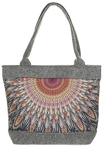 Damen Tasche Schultertasche Polo Kaleidoskop Filz Aufdruck (Mehrfarbig)