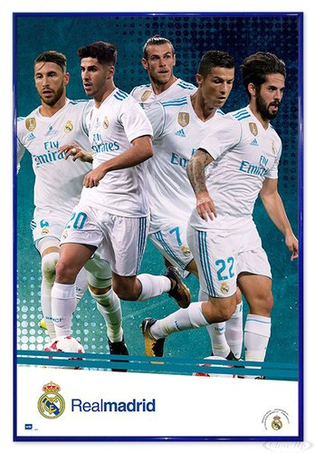 Close Up Real Madrid Poster Mannschaft Saison 2017/18 (94x63,5 cm) gerahmt in: Rahmen blau