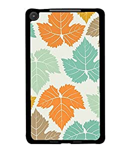 PrintDhaba Leaves Design D-1444 Back Case Cover for ASUS GOOGLE NEXUS 7 2013 (Multi-Coloured)