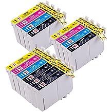 PerfectPrint - 14 Compatible Epson T1285 cartuchos de tinta (3 juegos y 2 negras) para Epson Stylus S22 SX125 SX130 SX420W SX425W SX445W BX305F BX305FW SX230 SX235W SX445W SX435W SX430W SX438W SX440W Impresora. 5x T1281, 3x T1282, 3xT1283, 3x T1284