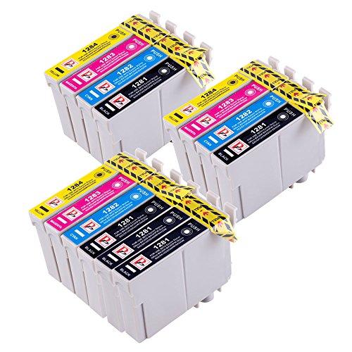 14 Cartuchos de tinta compatibles para Epson Stylus S22 SX125 SX130 SX420W SX425W SX445W BX305F BX305FW SX230 SX235W SX445W SX435W SX430W SX438W SX440W Impresora. 5x T1281 Negro + 3x T1282 Cian + 3x T1283 Magenta + 3x T1284 Amarillo (T1285)
