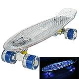 Ancheer Mini-Cruiser-Skateboard 55cm Skateboard mit oder ohne LED Deck,alle mit LED Leuchtrollen,mit USB Kabel aufzuladen,Farbe:Deck in Weiß mit LED / Rollen in Blau mit LED