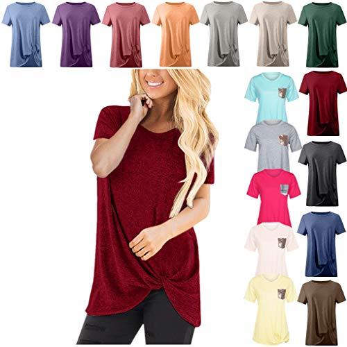 eile für Damen Frauen Kurzarm Rundhal Lose Shirt,Oversize Oberteile,Casual Tops Tee,Ladies Sommer Hemd Lässige Tunika Bluse Shirt,Strand Partykleid ()