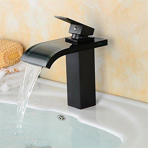 Hlluya Wasserhahn für Waschbecken Küche Mischbatterien Trend Glas Auswurfkrümmer Waschtischmischer voll Kupfer einzigen Wasserhahn 9B -