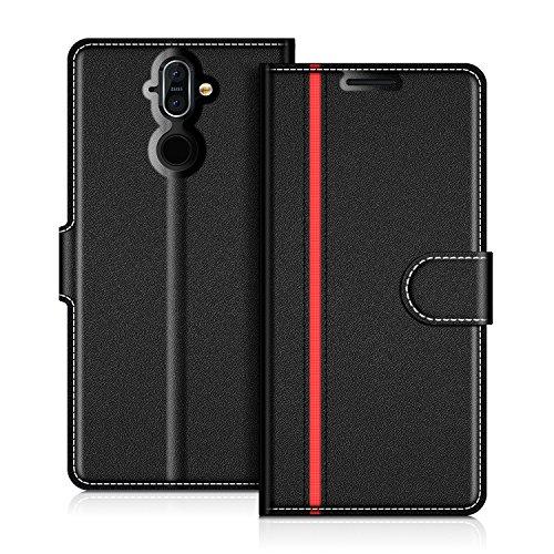 COODIO Nokia 8 Sirocco Hülle Leder Lederhülle Ledertasche Wallet Handyhülle Tasche Schutzhülle mit Magnetverschluss/Kartenfächer für Nokia 8 Sirocco, Schwarz/Rot