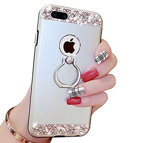 EUWLY Cover iPhone 7 Plus/iPhone 8 Plus (5.5), iPhone 7 Plus/iPhone 8 Plus (5.5) Case per Ragazza delle Donne, EUWLY Custodia Luxury Bling Crystal Sparkle Glitter Diamante Cover [360 Rotating Anello Argento
