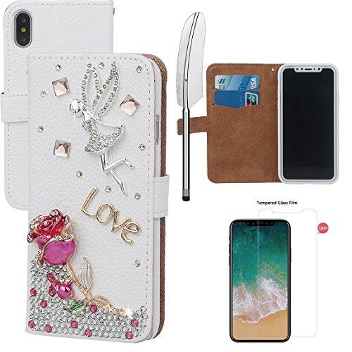 xhorizon MLK Boutique à la main Bling Glitter Housse de portefeuille Elégante et Rose Boîtier de protection en plein corps pour iPhone X / iPhone 10 (2017) avec un stylet DIY61 Rose-Rose rouge +9H Glass Tempered Film