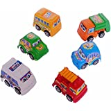 SAHAYA Combo Set Of 6 Pull Back Toy CARS/ VEHICLES For Kids Attractive Colors | Plastic | Safe For Children | Birthday Gifts