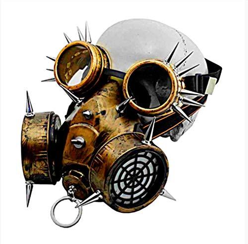 Kinder Gas Maske Kostüm - VAWAA 2 Pc Steampunk Gothic Vintage Spikes Gas Maske Brille Cosplay Requisiten Halloween Kostüm Zubehör Männer/Frauen