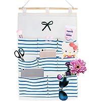 Lino Cotone Tessuto a parete porta borsa tasca case 8Home Organizer portaoggetti da appendere in tessuto, Tessuto, Blue Stripe, 8 Pocket - Mese Free Planner