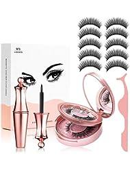 Fau Cils Magnétique Naturel Magnétique Eyeliner Kit De Cils Magnétiques, Eye-Liner Eyeliner Liquide Noir Et Lisse, Imperméable, Réutilisable 5 Aimants 3D Faux Cils sans Colle, avec Pincette