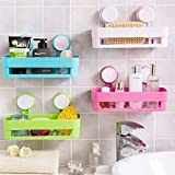 #4: Skyfun Plastic Interdesign Bathroom Storage Shelf With Suction Cup Caddy Holder Stand Organizer Wall Mounted For Kitchen