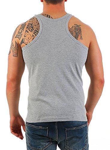 2 serbatoio Confezione Uomini camicia muscolare top canottiera camicia Rambo n. 452 Grigio-Grigio