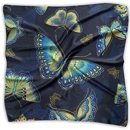 Square Satin Scarf Blue Butterfly Silk Like Lightweight Bandanas Head Wrap Neck Shawl Headscarf -
