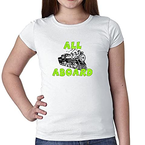 All Aboard! - Train - Special Green & Black Graphic Girl's Cotton Youth T-Shirt