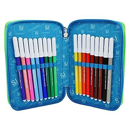 Seven SJ Gang Boy Estuche Escolar Làpices de colores Plumier Triple para Ninos Azul