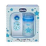 Chicco Wellbeing - Set de regalo con biberón, chupete y clip de silicona, color azul