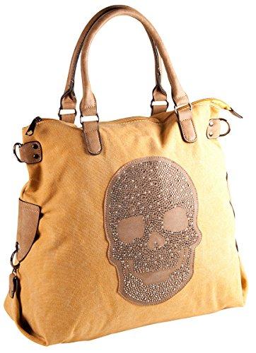 LIBERTA Canvas Skull Totenkopf Tasche LI1049 Damen Shopper Schultertasche 40x32x12 cm (BxHxT), Farbe:Grün Gelb