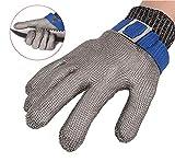 ThreeH Guanti protettivi di sicurezza Guanti in maglia di acciaio inossidabile per tagliare l'ostrica Guanti da lavoro GL09 M(1 pezzo)