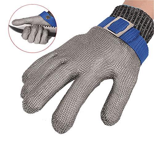 guanti di protezione ThreeH Guanti da lavoro Acciaio inossidabile resistente al taglio 316L Guanti di filo Protezione di livello 5 per la macelleria da cucina GL09 S(1 pezzo)