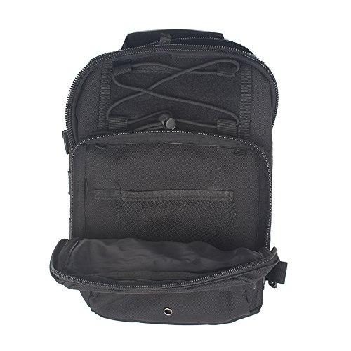 innturt tattico Molle Sling Borsa a tracolla multifunzione zaino trekking camping bag, Grey Black