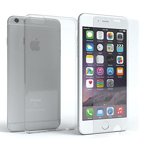 EAZY CASE Silikonhülle & Panzerglas im Set für Apple iPhone 6 & iPhone 6S I Displayschutzglas, Panzerglas mit 3D Touch, Schutzhülle, Slimcover aus TPU/Silikon, transparent & kristallklar - 6 Screen Iphone Set Protector