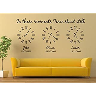 Personalised Family Wall Art Sticker, in These Moments time Stood Still Sticker (L:120cm x 60cm, Black)