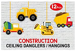 WoW Party Studio Construction Theme Ceiling Hangings / Danglers for Birthday Party Decoration - 12 Pcs