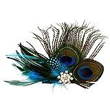 Fatto a mano pavone fascinator fermaglio per capelli con perle e strass