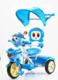 GoodLuck Baybee Kids Metal Tinman Tricycle Convertible Trike with Canopy and Parent push Control for Outdoor, 1-3 Years (Blue)
