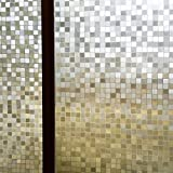 Zanbringe 17.7x78.7 Zoll(45x200CM) nichtklebenden Mosaiken statische Privatsphäre Fenster Klarsichtfolie