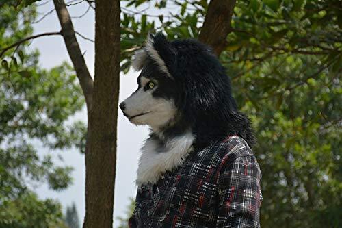 aske, Cosplay Kopfbedeckung Husky Halloween und Party Special bewegliche Mundmaske mit hellem Auge (Color : Black, Size : 25 * 25) ()