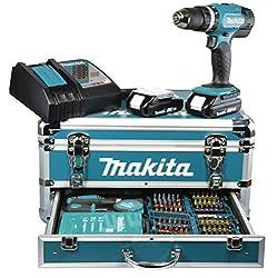 Makita BHP453RHX2 Akku-Schlagbohrschrauber im Alu-Koffer inkl. Zubehör-Bitset + Bohrerset 18 V-Li/1,3 Ah