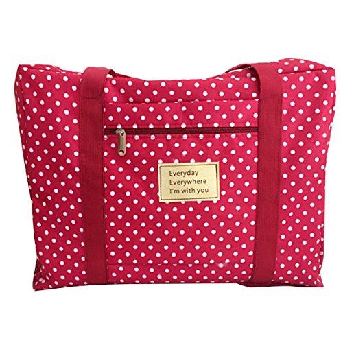 Panegy 50L bagagli Borsa da viaggio, %2F %2F trasloco, con tessuto Oxford-anti-polvere, impermeabile, 50 x 40 x 25 cm, 5 colori, Rosso a pois (Rosso) - BC19BG0207 Rosso a pois