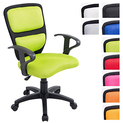 CLP Kinder Bürostuhl EINSTEIN mit Armlehne, Netzbezug Stoff, gepolstert, Sitzhöhe ca. 40 - 50 cm, für Mädchen und Jungen schwarz/grün