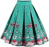Eudolah Mujeres Vintage Vintage Swing Full Circle plisadas faldas Chica verde XL