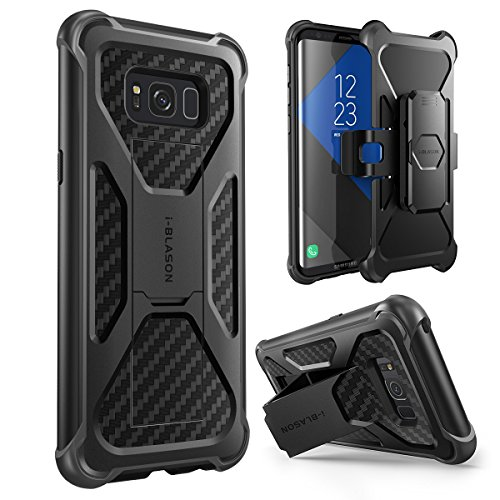i-Blason Samsung Galaxy S8 Hülle Prime Serie - 2-Schicht Schutzhülle/Tasche/Gehäuse/Zubehör mit Standhalter, schwenkbaren Gürtelschnalle mit Locking-Mechanism (2017 Release) (schwarz)
