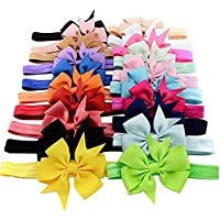 CAOLATOR 20Pcs Cintas De Cabeza Niños Niñas Conjuntos Con Lazos Fijos Hermosas Bandas EláStica Cumpleaños Fiestas Velada Su Cinturón de la Mariposa(Color Aleatorio)