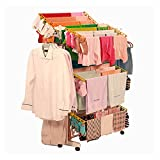 #10: Evana Power Dryer Easy Cloth Drying Stand Laundry Drying Rack Stand and Garments Rack Mild Steel, Double Pole 26 Rods Cloth Drying Rack with Wheel orange