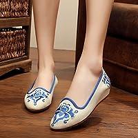 YQQ Gestickte Schuhe, Sehnensohle, ethnischer Stil, weiblicher Flip Flop, Mode, bequem, Sandalen , red , 40