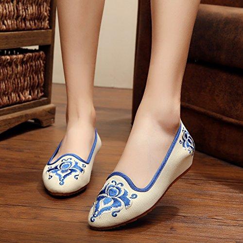 Ethnischer Lässige Schuhe Segeltuchschuhe Feine Weibliche Sehnensohle amp;hua Bestickte Stil Mode White Bequeme wqIZ1a