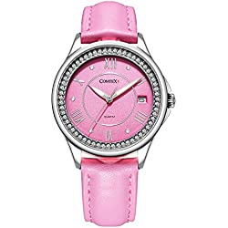 Comtex Women's Wrist Watch Pink Dial Analogue Display and Pink Leather Strap Calender