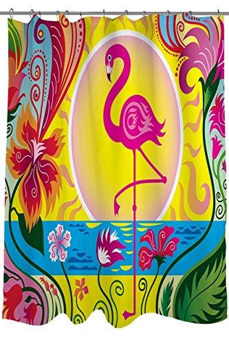 Flamingo Blossom Sun viele schöne Duschvorhänge zur Auswahl, hochwertige Qualität, Wasserdicht, Anti-Schimmel-Effekt 180 x 180 cm (Halloween Schwarze Katze Silhouette Muster)