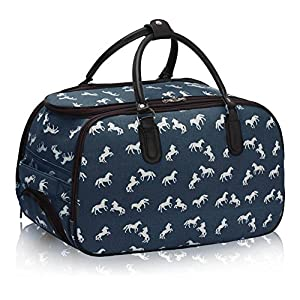 Ladies Travel Holdall Bags Hand Luggage Womens Horse Print Weekend Wheeled Trolley Handbag