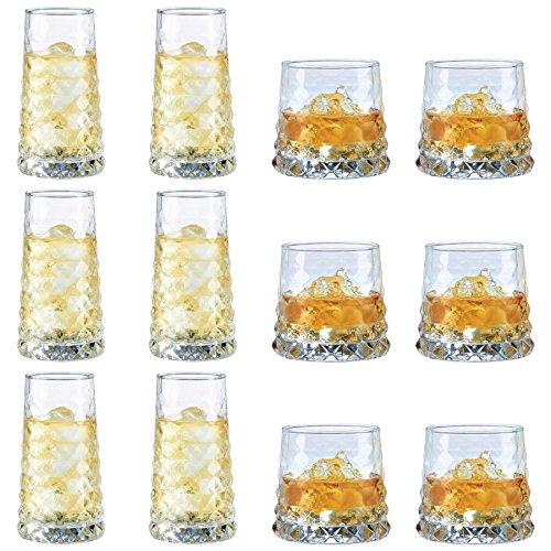 Durobor bicchieri modello gem, tipo tumbler e highball, per feste/cocktail/bevande, con bolla - set da 12