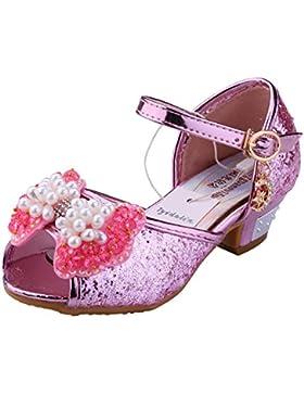 Tyidalin Niñas Zapatos de Cuero Lentejuelas para Baile Tacones Altos Disfraz de Princesa Cosplay Fiesta Carnaval...