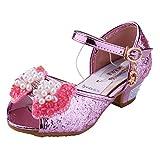 Sandales à talon Fille, Ballerine Princesse Chaussures Enfant Paillettes pour Ceremonie Mariage Déguisement Rose 33 - Tyidalin