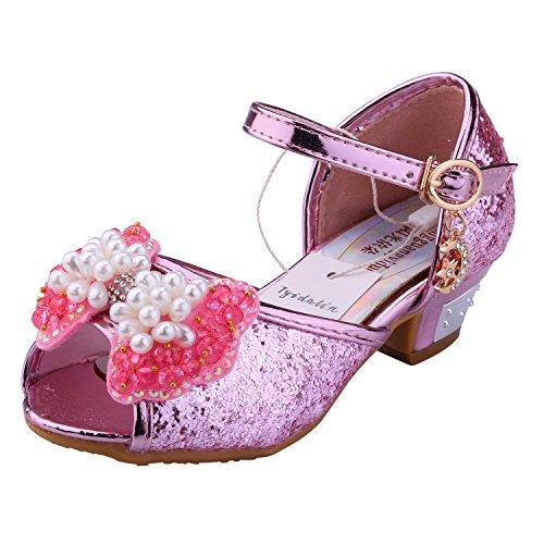 Tyidalin Mädchen Ballerinas Schuhe Schleife und Pailletten - Prinzessin Sandale Kostüm Schuhe mit dem Absatz Karneval Fest für Kinder Rosa EU27