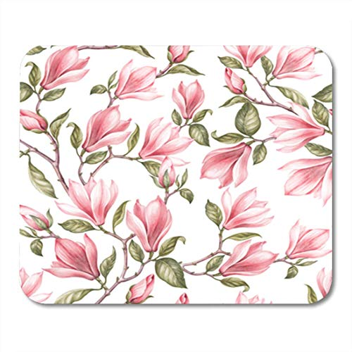 HOTNING Gaming Mauspads Gaming Mouse Pad Seamless Pattern of Magnolia Vintage Bouquet Blooming Roses Watercolor Botanical 11.8