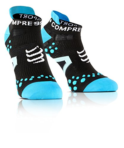 Compressport Racing Socks V2.1 Run Lo Calzino Corsa Basso da Gara e Allenamento, Nero (Black/Blue), T4